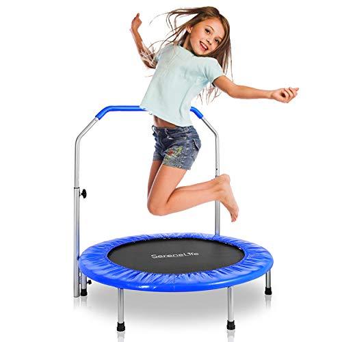 SereneLife Portable & Foldable Trampoline - 36' In-Home Mini Rebounder, Fitness Body Exercise - Updated Version - SLSPT365,Blue
