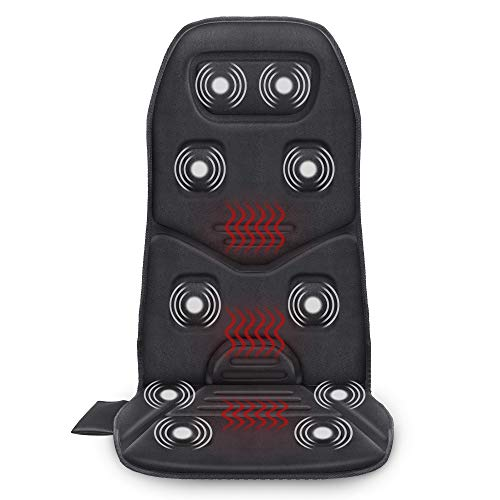 Comfier Massage Seat Cushion with Heat - 10 Vibration Motors Seat Warmer, Back Massager for Chair, Massage Chair Pad for Back Pain Relief Ideal Gifts for Women,Men