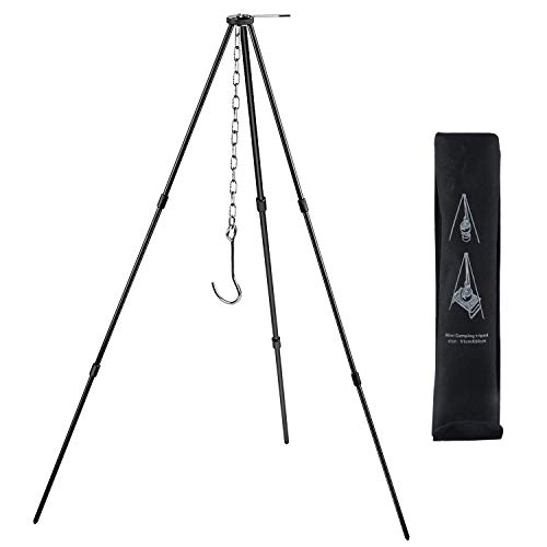 Camping Tripod Campfire Cooking Dutch Oven Tripod Mini Adjustable Grill Tripod Cooker Campfire Grill Stand Tripod Grilling Set Cooking Lantern Tripod Hanger with Storage Bag for Camping Activities