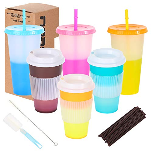 6PCS Color Changing Cups with Lids and Straws, Reusable 3 Cold Drink Tumblers 24oz, 3 Hot Coffee Cups 16oz