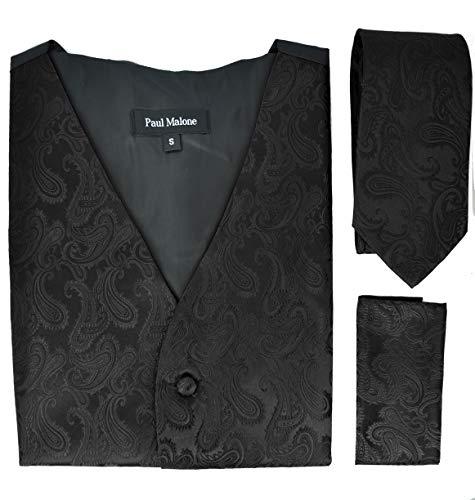 Paul Malone Black Paisley Tuxedo Vest Set