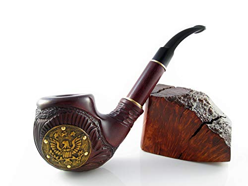 Exclusive Fashion Pipes - Long Churchwarden'American Eagle' Tobacco Smoking Pipe Decorated Leather Handcrafted and Pouch Gift