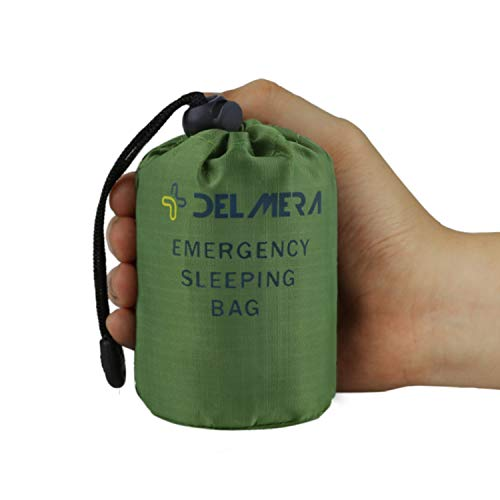 Delmera Emergency Sleeping Bag, Lightweight Survival Sleeping Bags Waterproof Thermal Emergency Blanket, Bivy Sack Survival Gear for Outdoor Adventure, Camping, Hiking, Green (Green- one Pack)