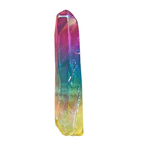 200g Yellow Rainbow Titanium Aura Quartz Crystal Point Coloured Stones Specimen Minerals for Home Decor Craft Wholesale About 25-30pcs
