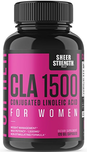 Extra Strength CLA for Women - 1500mg High Potency Weight Management Supplement - Stimulant-Free Conjugated Lineolic Acid from Safflower Oil - 120 Ct - Sheer Strength - Packaging May Vary