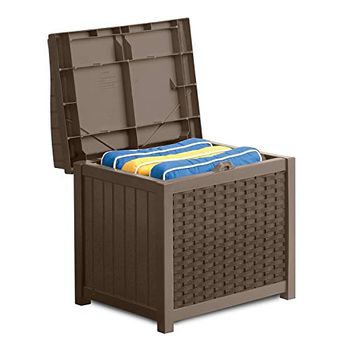 Suncast 22-Gallon Small Deck Box - Lightweight Resin Indoor/Outdoor Storage Container and Seat for Patio Cushions, Gardening Tools and Toys - Store Items on Patio, Garage, Yard - Mocha Wicker