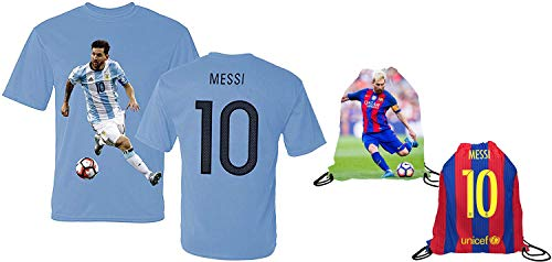 Messi Jersey Style T-shirt Kids Argentina Lionel Messi Jersey T-shirt Gift Set Youth Sizes  Premium Quality   Soccer Backpack Gift Packaging (YS 6-8 Years Old, Messi)