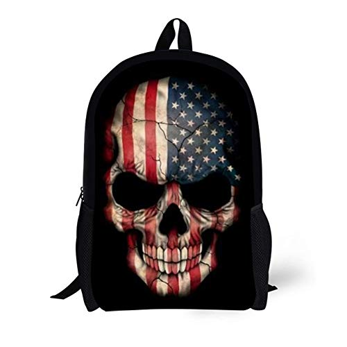 Youngerbaby Cool Skull Head Print Backpack for Teens Girl Boy Kids School Daypack