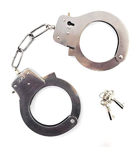 JASINCESS Toy Metal Handcuffs with Keys Police Costume Prop Accessories Party Supplies