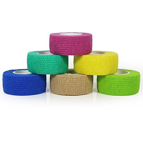 YuMai 2.5cm x 4.5m First Aid Kit Finger Tape Adhesive Bandages Vet Wrap, Elastic, Flexible, Self-Adhesive - 6 Rolls (Multicoloured & Random)