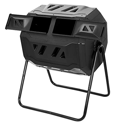 F2C Compost Bin Outdoor 43 Gallon Tumbler Composters Tumbling or Rotating BPA Free Large Dual Chamber w/ Sliding Doors & Solid Steel Frame, Outdoor Garden Yard Black