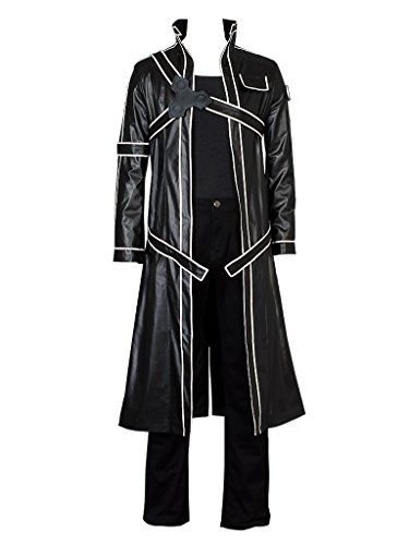 Cosfun Kirito Kirigaya Kazuto Cosplay Costume Just Coat mp002943 (Large) Black