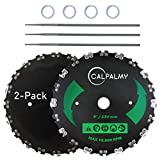 (2-Set) 9' x 20T Chainsaw Tooth Brush Blades – 2 Blades, 3 Assorted Round Files (5/32'', 3/16'', 11/64'') and 4 Washers   For Cutter, Trimmer, Weed Eater   Made from Carbon Steel, Cuts Like Butter