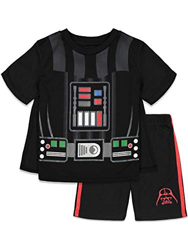 Star Wars Darth Vader Big Boys Athletic Mesh Costume 3 Piece T-Shirt Cape Shorts Set Black 8