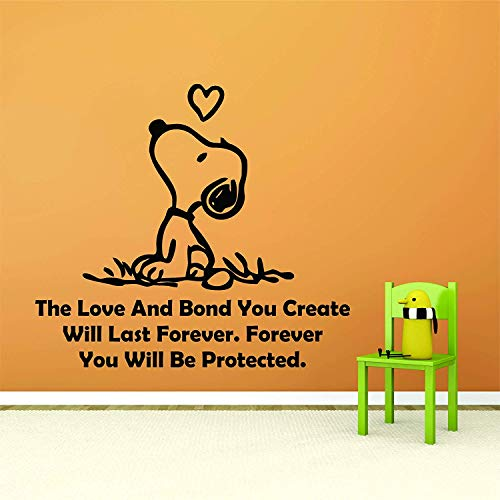 SNOOPY WALL DECALS Decal Charlie Brown Cartoon Character LOOK UP LOVE HEART QUOTES QUOTE Vinyl Art Stickers for toddler, baby, kids rooms bedrooms decor decoration for nursery Size 16x35 inch