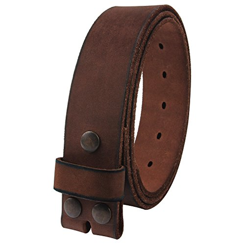 NPET Mens Leather Belt Full Grain Vintage Distressed Style Snap on Strap 1 1/2' Wide Coffee 36'-38'