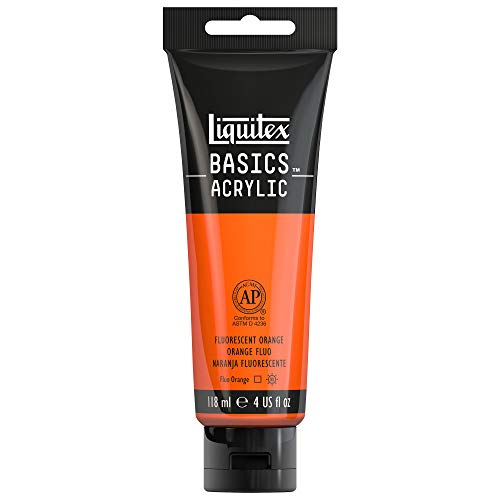 Liquitex BASICS Acrylic Paint, 4-oz tube, Fluorescent Orange