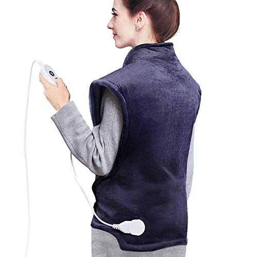 Homech Heating Pads for Back Pain and Cramps, 35 x 27 Inch Electric Heating Wrap for Neck and Shoulders, Dry & Moist Heat Therapy, 6 Heat Settings, Fast-Heating Technology, Auto Shut-Off, 1 Count