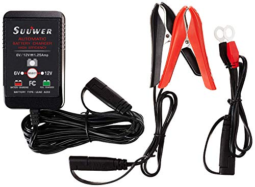 Suuwer Battery Charger, 6V/12V 1.25-Amp Fully-Automatic Smart Trickle Charger for Cars, Motorcycles, ATVs, Lawn Mower and More