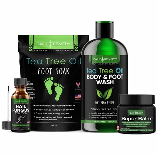 4 in 1 Tea Tree Oil Foot Soak, Superbalm, Nail Fungus Solution and Body Wash Set - Get Rid of Toenail Fungus, Athletes Foot, Odor-Causing Bacteria, Calluses - Personal Treatment Kit - Made in the USA