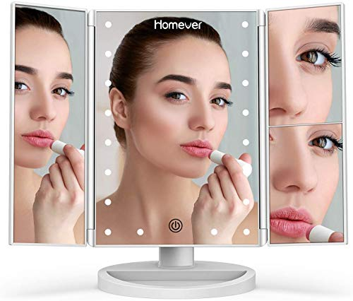 Lighted Makeup Mirror, Homever 3X 2X 1X Magnifying Mirror 21 LED Lighted Tri-Fold Makeup Mirror with Touch Screen and 180 Degree Rotation, Adjustable Stand, Dual Power Mode Beauty Mirror (White)
