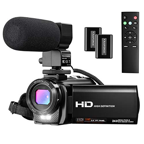 Video Camera Camcorder, FHD 1080P 30FPS 24MP Camcorders YouTube Vlogging Camera 16X Digital Zoom 3.0 Inch 270 Degree Rotation Screen Video Camera Recorder with Hood, Remote and 2 Batteries
