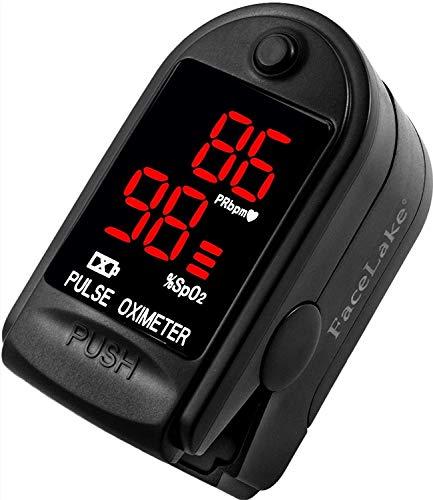 FaceLake  FL400 Pulse Oximeter with Carrying Case, Batteries, Neck/Wrist Cord - Black