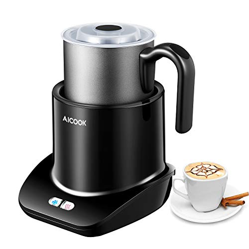 Milk Frother, AICOOK Electric Milk Warmer [3 Modes], Automatic Detachable foam maker, 10.24oz Stainless Steel Jug & Dishwasher-Safe, for Lattes, Cappuccinos, and Hot Chocolate