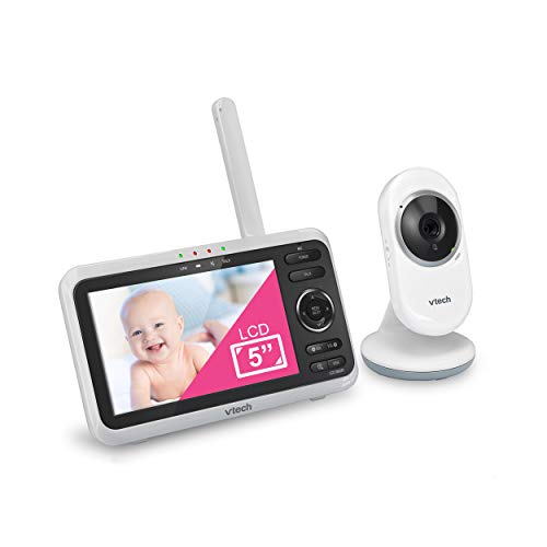 VTech VM350 Video Baby Monitor with 5' Screen, Long Range, Invision Infrared Night Vision, Two Way Talk, Auto On Screen, Soothing Sounds and Lullabies, Temperature Sensor
