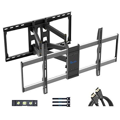 "Rentliv Full Motion TV Wall Mount Bracket for 37-85 Inch TVs Articulating TV Mount Large Wall Mount TV Bracket Fits 16""18""24"" Studs W/Features Extension Swivel Tilt VESA 800x400mm Holds up to 165 lbs"
