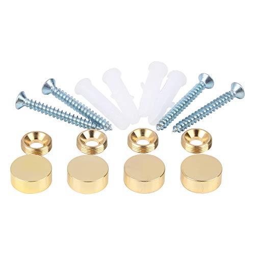 Mirror Screws,Brass Cap Decorative Mirror Nails,0.6',Polished Gold,4 Pack