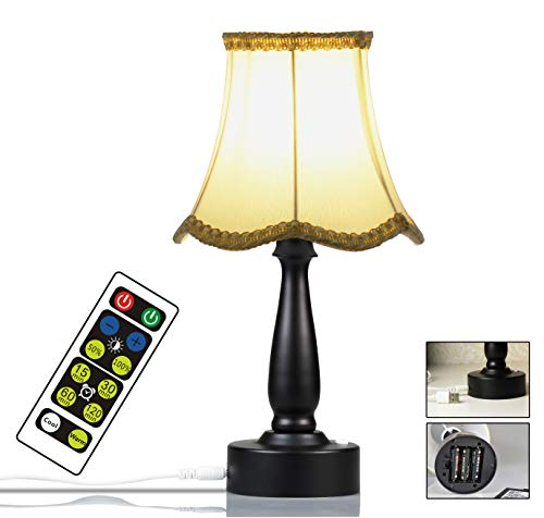 WRalwaysLX Modern Table Lamp with Warm & Cold Color, 3 Stage Dimmable Beside Desk Lamps with Built-in Bulb, Small Nightstand Lamps for Bedroom, Office, Living Room with Plastic Base and Fabric Shade