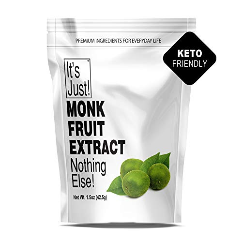 It's Just - 100% Monkfruit Extract Powder, Keto Friendly Sweetener, Monk Fruit, Sugar-Free, Non-GMO, 25% Mogrosides, Non-Glycemic, 1.5oz