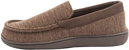 Hanes Mens Slippers House Shoes Moccasin Comfort Memory Foam Indoor Outdoor Fresh IQ,Brown,X-Large