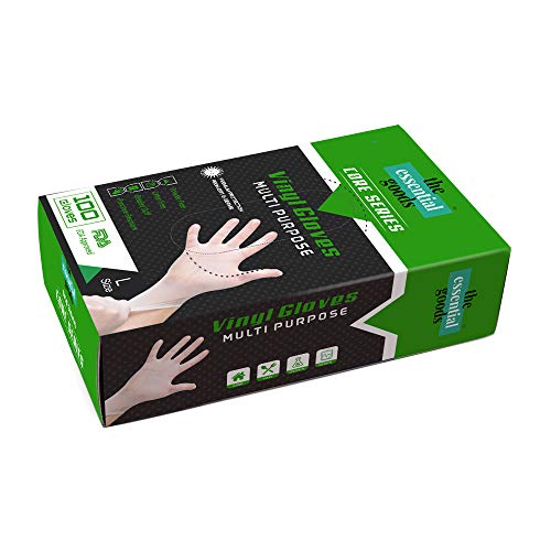 The Essential Goods Disposable Vinyl Gloves | Large Size | 100 Count | Non Latex Powder Free | Ultra Strong Non Sterile | For Home, Office, Kitchen, Cooking, Everyday Use
