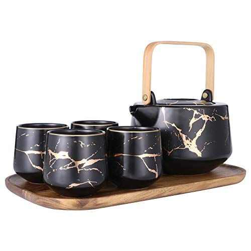 Sunddo Black Marble Tea Service Set Ceramic Large Tea Pot (40 OZ), 4-Piece Tea Cups (6.7 OZ) with Wooden Tray - Modern Teapot, Tea Cups Set for Home and Office