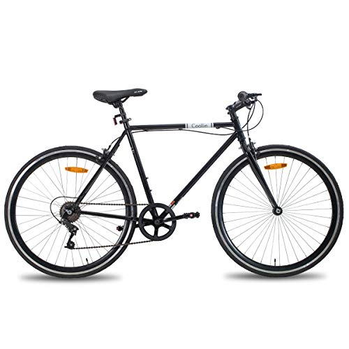 Hiland Road Hybrid Bike Urban City Commuter Bicycle for Youth Comfortable Bicycle 700C Wheels with 6 Speeds Black 58CM