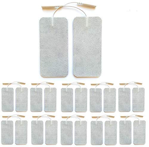 Med X Tens Unit Pads 20 Pack 2x4 inch Large Size Reusable Electrode Pads with Premium Self Stick Gel Compatible with TENS/EMS Tens 3000 Tens 7000 Tens Units and Pulse Massagers