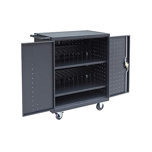 Pearington - 24TABLET-01 24 Device Mobile Charging and Storage Cart for iPads, Chromebooks and Laptop Computers, Up to 15-Inch Screen Size, Surge Protection, Front & Back Access Locking Cabinet