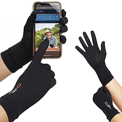 Copper Compression Full Finger Arthritis Gloves with Touchscreen Tips. Highest Copper Content Guaranteed. Best for Carpal Tunnel, Smart Touch Screen Typing, Phones, iPads, Texting Fit for Men & Women