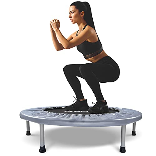 BCAN 38' Foldable Mini Trampoline, Fitness Trampoline with Safety Pad, Stable & Quiet Exercise Rebounder for Kids Adults Indoor/Garden Workout Max 300lbs - Grey