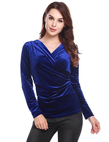ThinIce Women's Deep V Neck Wrap Tops Velvet Fitted Long Sleeve Drape Blouse Blue Medium