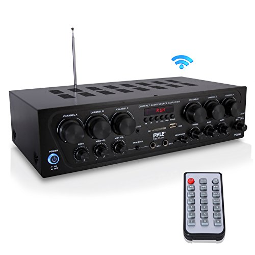 Bluetooth Home Audio Amplifier System - Upgraded 2018 6 Channel 750 Watt Wireless Home Audio Sound Power Stereo Receiver w/ USB, Micro SD, Headphone, 2 Microphone Input w/ Echo, Talkover for PA - Pyle