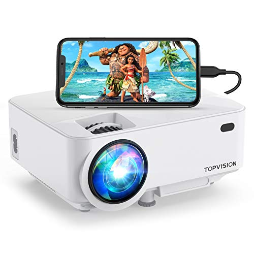 Mini Projector, Top vision 5500LUX Outdoor Movie Projector with Screen Mirroring, Full HD 1080P Supported Portable Projector, Compatible with Fire Stick,HDMI,VGA,USB,Laptop,DVD