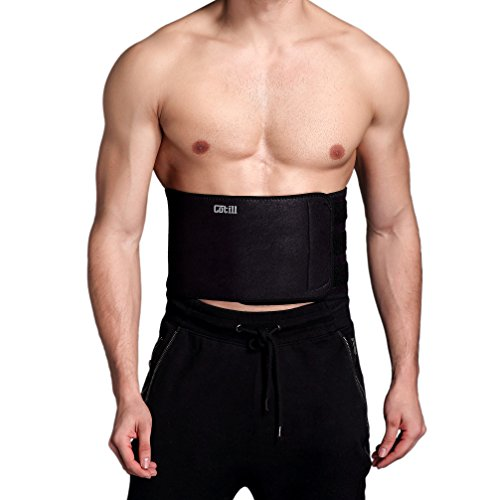 Cotill Waist Trimmer Ab Belt for Men Women - 3 Adjustable Closure Waist Trainer - Stomach Wrap Slimming Sauna Weight Loss Belts and Lower Back Lumbar Support (Medium)