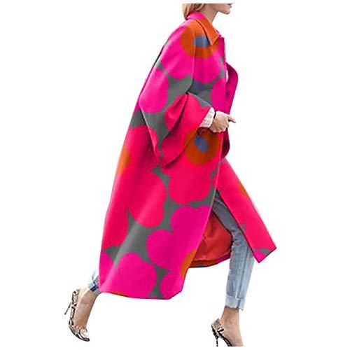 Women Vintage Trench Coat,Memela Women's Autumn Long Sleeve Pea Coat Lapel Open Front Long Jacket Overcoat Outwear Cardigan Hot Pink