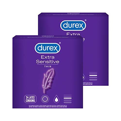 Condoms, Durex Extra Sensitive & Extra Lubricated Condoms, 24 Count (Pack of 2), Ultra Fine, Natural Latex Condoms, FSA & HSA Eligible