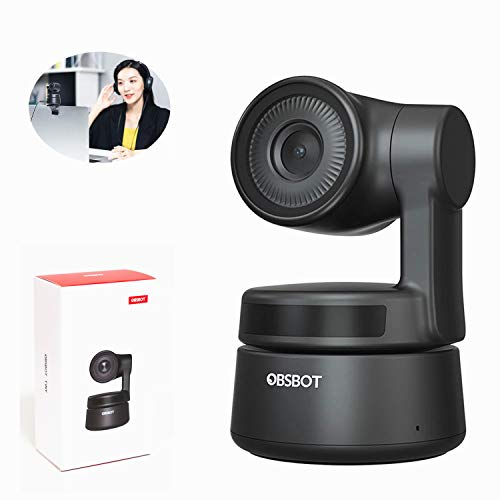 OBSBOT Tiny 1080P Webcam with Microphone AI Tracking Auto-Exposure Gesture Control, USB Streaming Web Camera for Laptop MAC Desktop PC Online Meeting Classes, Plug and Play, for Zoom Skype YouTube
