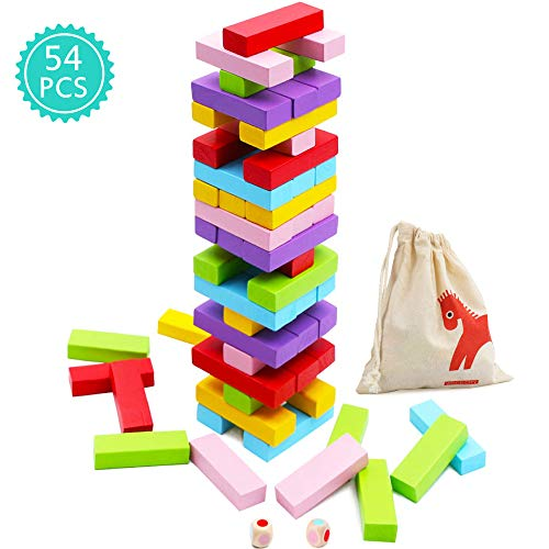 Wooden Stacking Board Games 54 Pieces for Kids Adult and Families, Gentle Monster Wooden Blocks Toys for Toddlers, Colored Building Blocks - 6 Colors 2 Dice