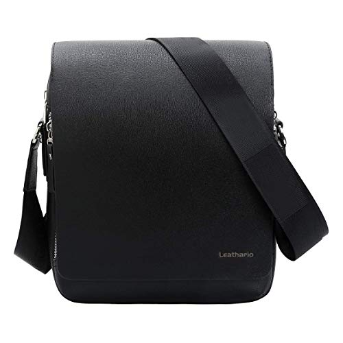 Leathario Men PU Leather Shoulder Bag Small Men Messenger Bag Crossbody Satchel Bag ipad Bag for Men(Black-S)